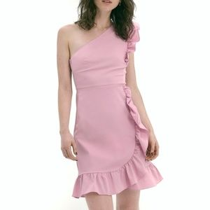 J CREW Yass one shoulder ruffle party pink dress